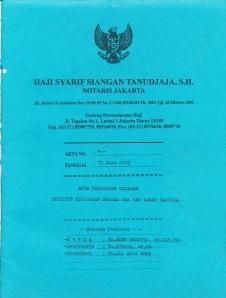Akta Notaris Yayasan SOPHIE 2007_0001