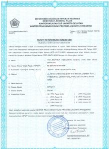 Surat Terdaftar Pajak SOPHIE