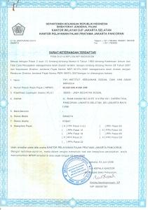 Keterangan Terdaftar Pajak SOPHIE0001